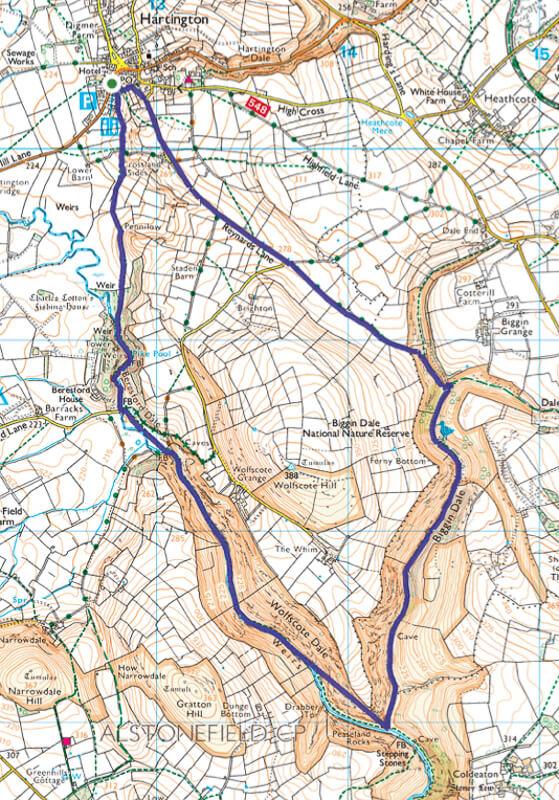 Wolfscote Dale walk map