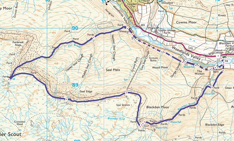 Blackden Brook walk map Peak District