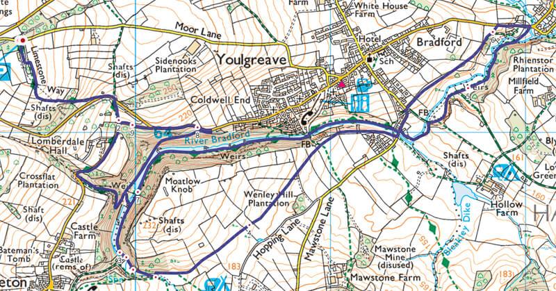 Bradford Dale walk map