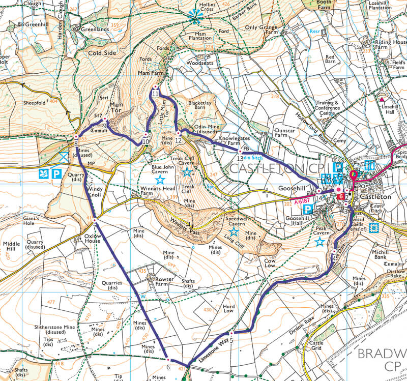 Cave Dale Walk Map