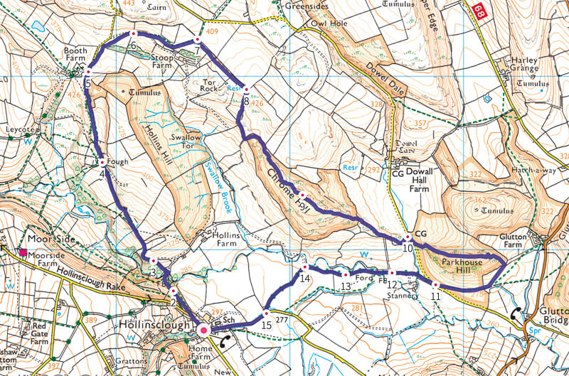 Peak District map - Chrome Hill and Parkhouse Hill