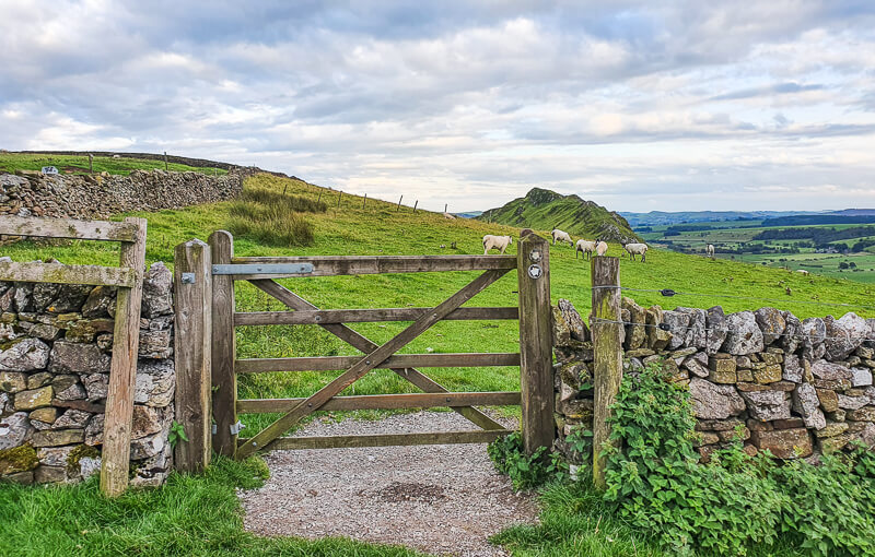 Gate and views towards Chrome Hill