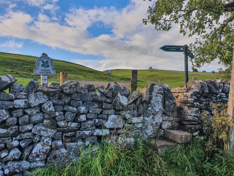 Stone stile and drystone wall