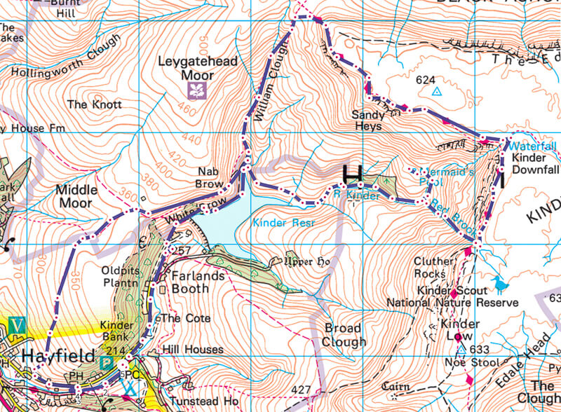 Hayfield walk map to Kinder Scout