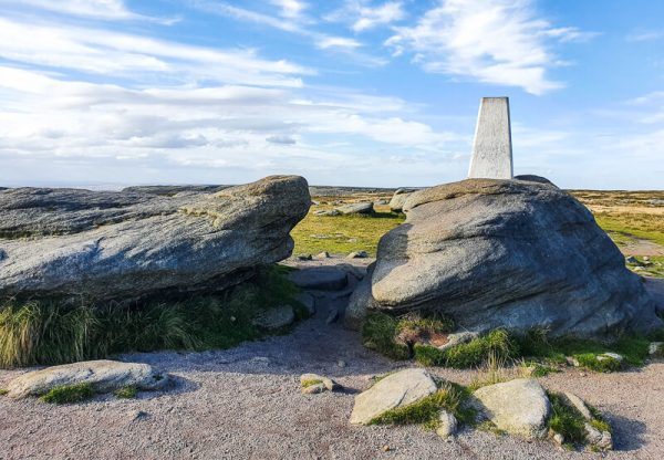 Trig point on rock in Peak District