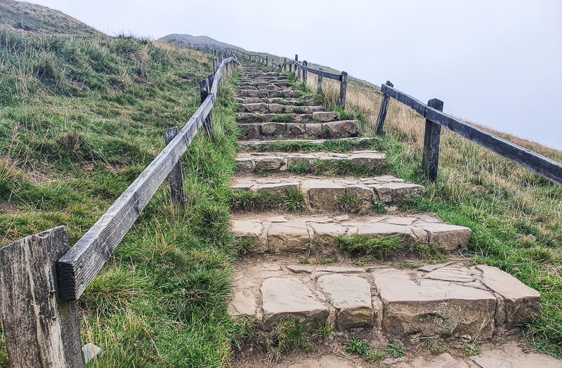 Steps up to Mam Tor summit