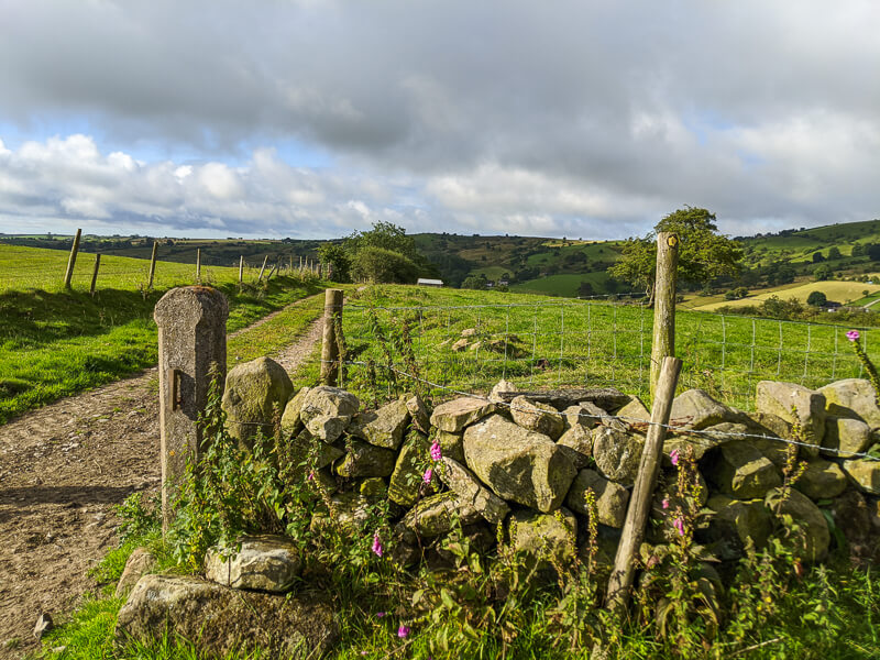 Drystone wall and arrow sign