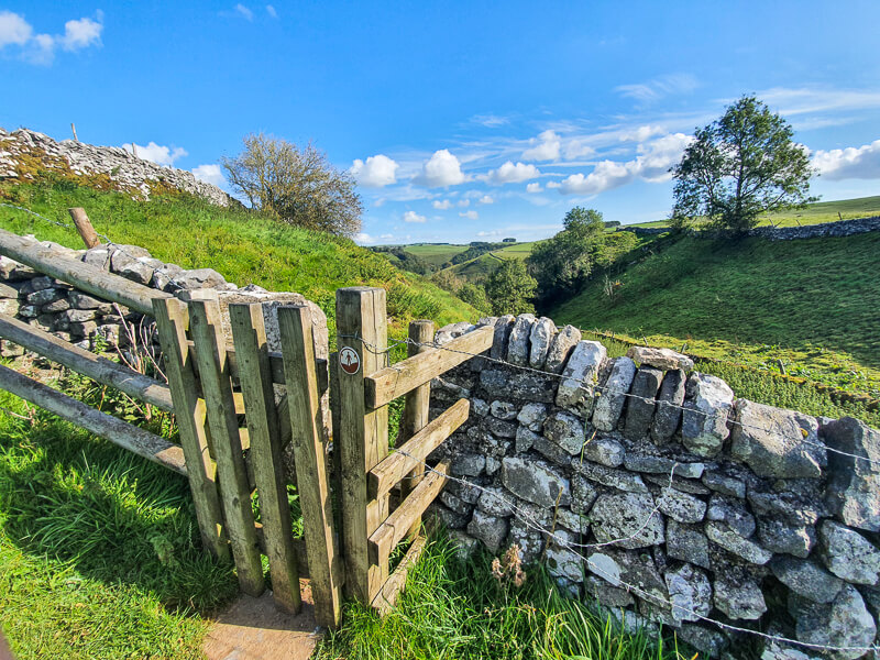 Gate and drystone wall