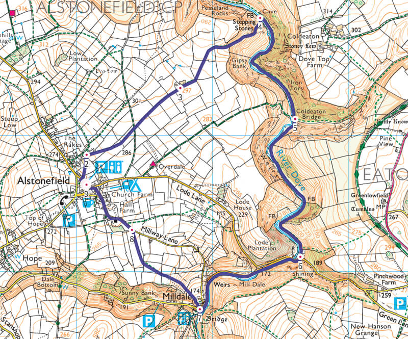 Walk map from Alstonefield