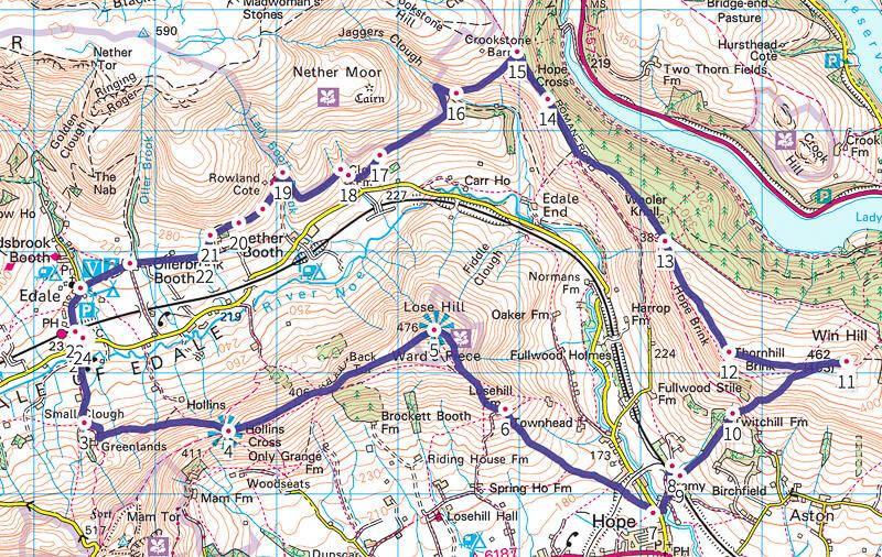 Peak District walk map - Lose Hill + Win Hill 12 mile walk