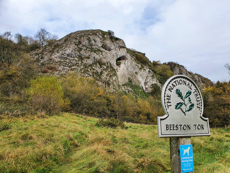 Beeston Tor sign and tor behind