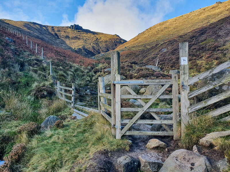 Gate with view up to Crowden Tower