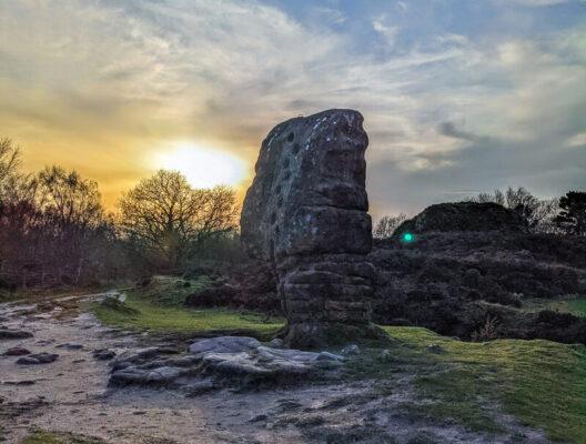 Large gritstone rock Stanton Moor