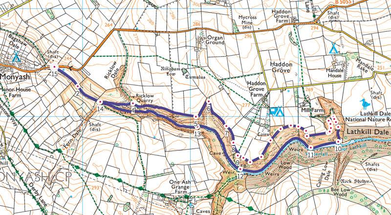 Lathkill Dale walk map Peak District