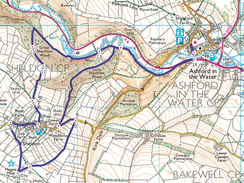 Magpie Mine short walk map Peak District