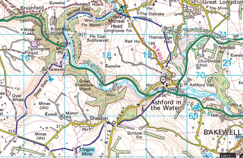 Magpie Mine walk map Peak District