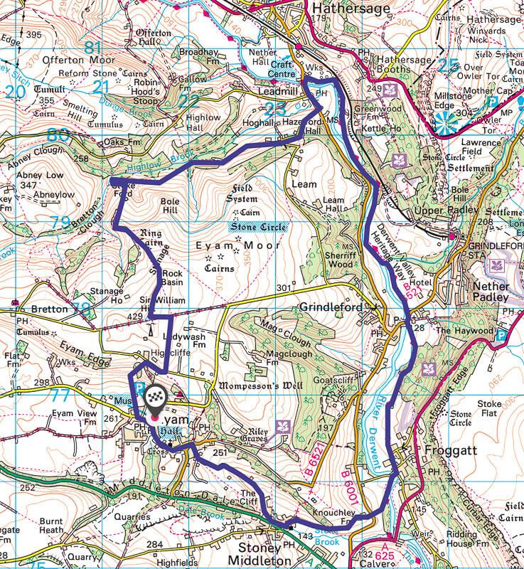Peak District walk map fro Eyam