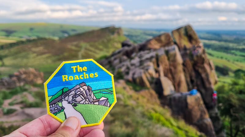 The Roaches charity patch and rocks behind